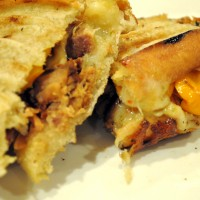 Pulled Pork Tenderloin Panini with roasted pepper & havarti