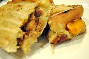 Pulled Pork Tenderloin Panini with roasted pepper and havarti